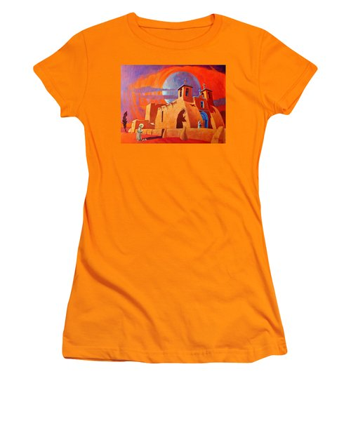 Women's T-Shirt (Junior Cut) featuring the painting In The Shadow Of St. Francis by Art West