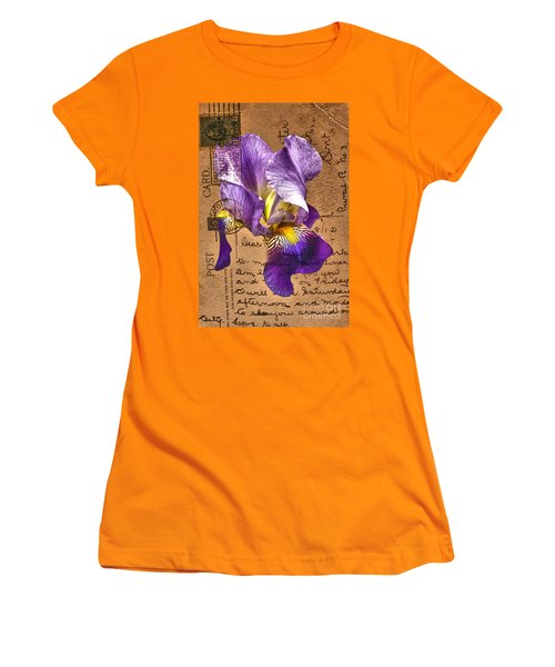 Iris On Vintage 1912 Postcard Women's T-Shirt (Athletic Fit)
