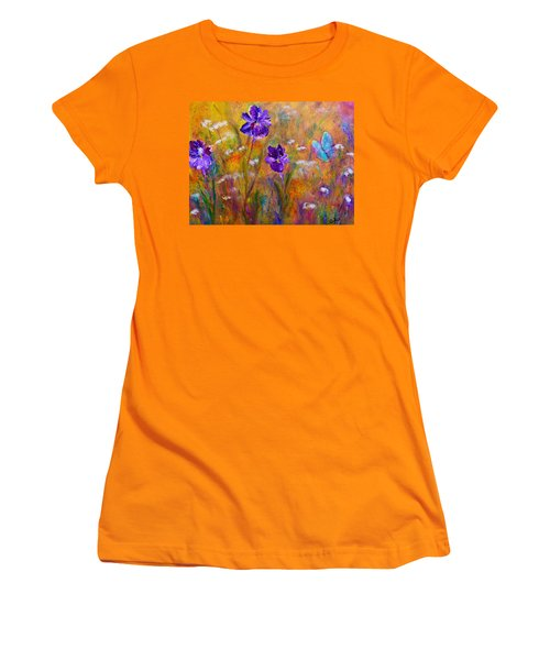Iris Wildflowers And Butterfly Women's T-Shirt (Athletic Fit)
