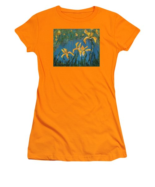 Women's T-Shirt (Athletic Fit) featuring the painting Irises by Jamie Frier
