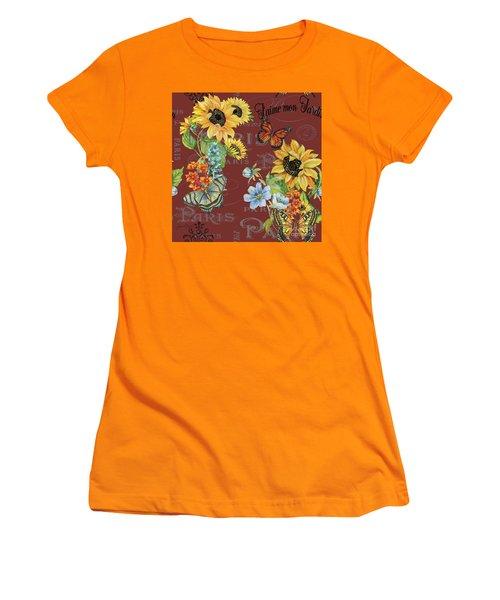 Women's T-Shirt (Junior Cut) featuring the painting Jaime Mon Jardin-jp3988 by Jean Plout