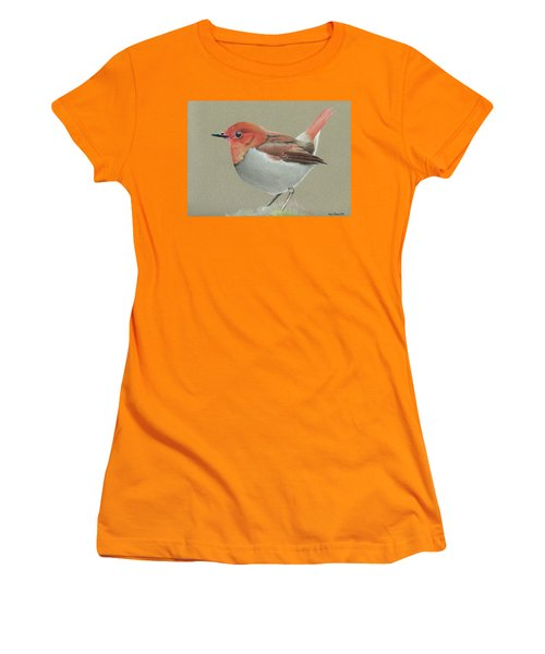 Women's T-Shirt (Junior Cut) featuring the drawing Japanese Robin by Gary Stamp
