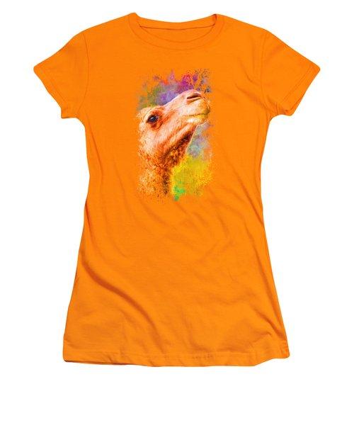 Jazzy Camel Colorful Animal Art By Jai Johnson Women's T-Shirt (Junior Cut) by Jai Johnson