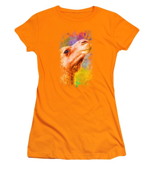 Jazzy Camel Colorful Animal Art By Jai Johnson Women's T-Shirt (Athletic Fit)
