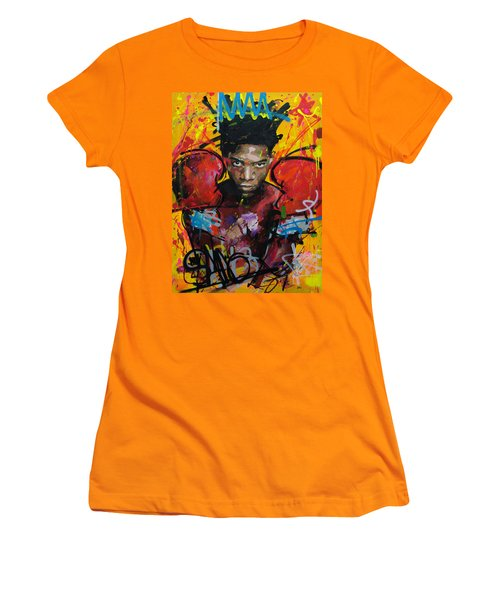 Women's T-Shirt (Junior Cut) featuring the painting Jean-michel Basquiat by Richard Day