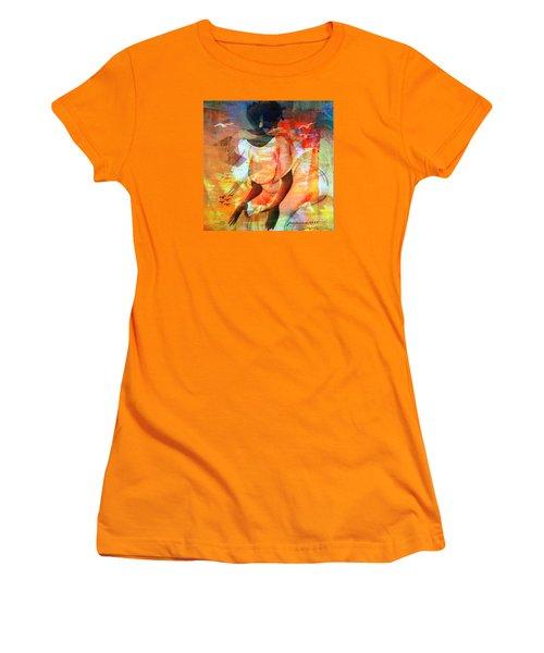 Women's T-Shirt (Junior Cut) featuring the mixed media Jeanine by Fania Simon