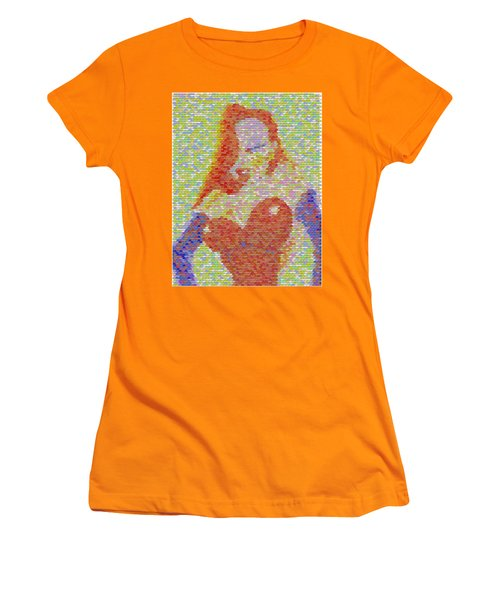 Women's T-Shirt (Junior Cut) featuring the mixed media Jessica Rabbit Pez Mosaic by Paul Van Scott