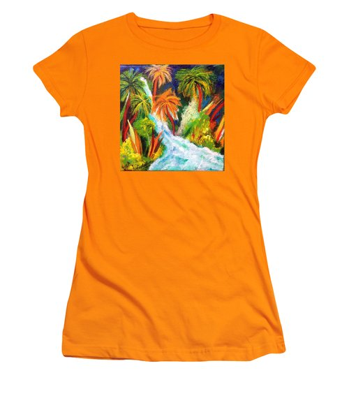 Jungle Falls Women's T-Shirt (Junior Cut) by Elizabeth Fontaine-Barr
