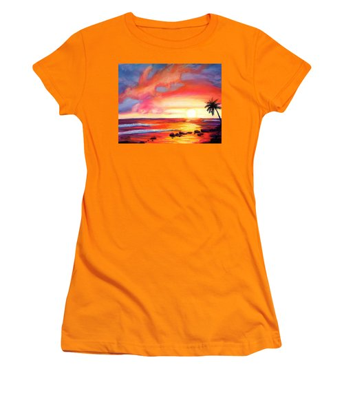 Kauai West Side Sunset Women's T-Shirt (Junior Cut) by Marionette Taboniar