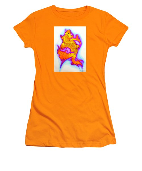 Koi Fish Water Color Edition Women's T-Shirt (Junior Cut) by Justin Moore