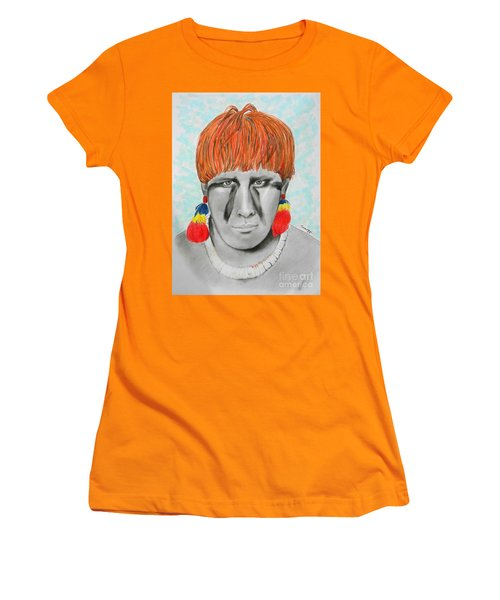 Kuikuro From Brazil -- Portrait Of South American Tribal Man Women's T-Shirt (Athletic Fit)