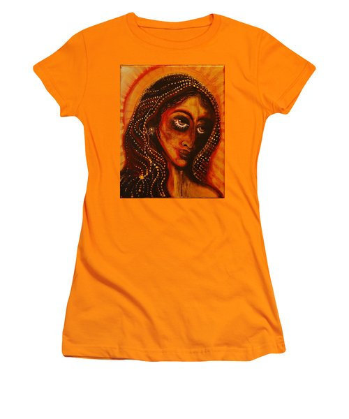 Women's T-Shirt (Junior Cut) featuring the painting Lady Of Gold by Sandro Ramani