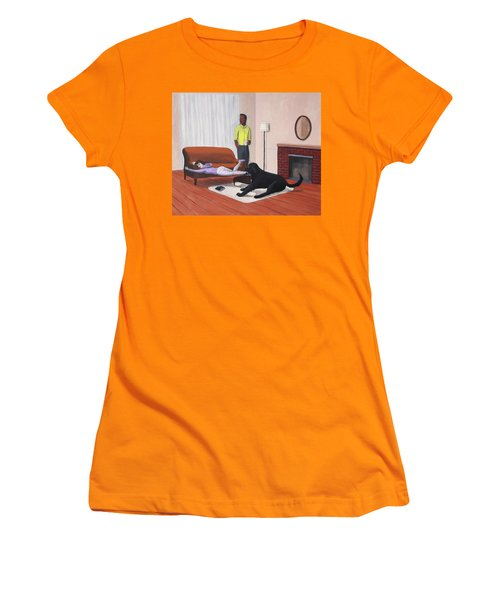 Lady Pulling Mommy Off The Couch Women's T-Shirt (Athletic Fit)