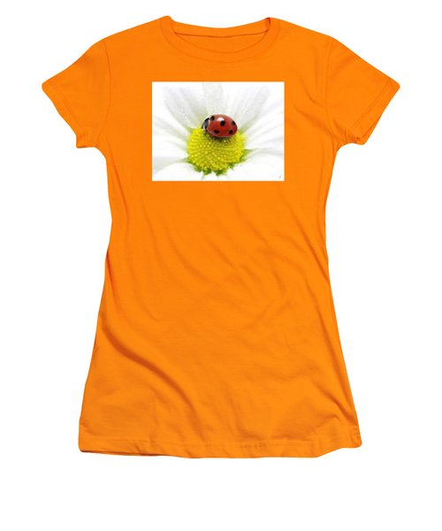 Women's T-Shirt (Junior Cut) featuring the mixed media Ladybug On White Daisy by Anthony Fishburne