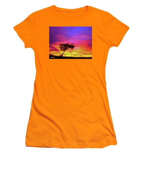 Leaning Tree At Sunset Women's T-Shirt (Athletic Fit)