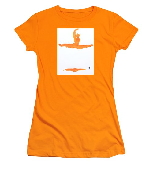 Leap Brush Orange 1 Women's T-Shirt (Junior Cut) by Shungaboy X