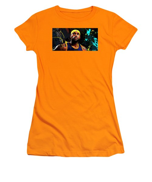 Women's T-Shirt (Junior Cut) featuring the painting Lebron by Richard Day