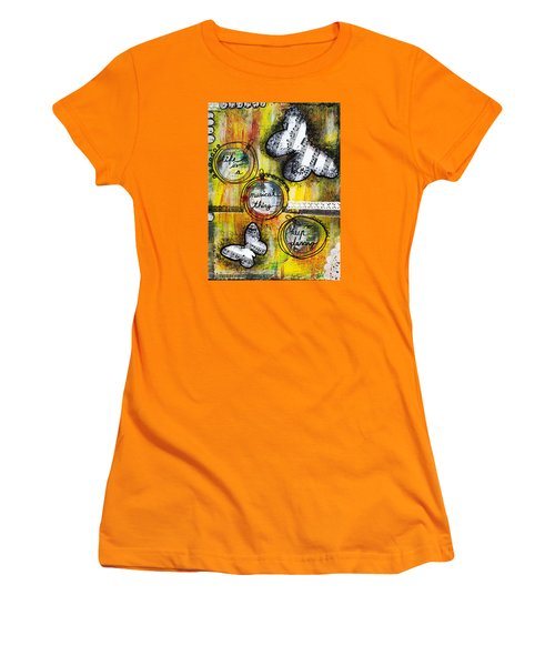 Women's T-Shirt (Junior Cut) featuring the mixed media Life Is A Musical Thing by Stanka Vukelic