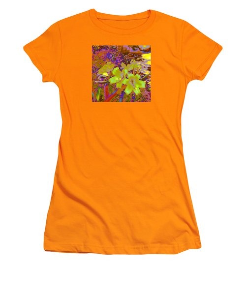 Women's T-Shirt (Junior Cut) featuring the photograph Lily Glow Yellow by M Diane Bonaparte