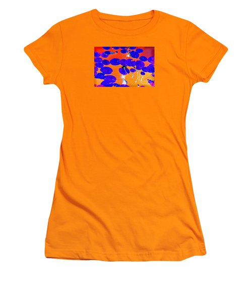 Women's T-Shirt (Junior Cut) featuring the photograph Lilypad Explosion by Linda Olsen