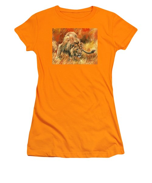 Women's T-Shirt (Junior Cut) featuring the painting Lion Alert by David Stribbling
