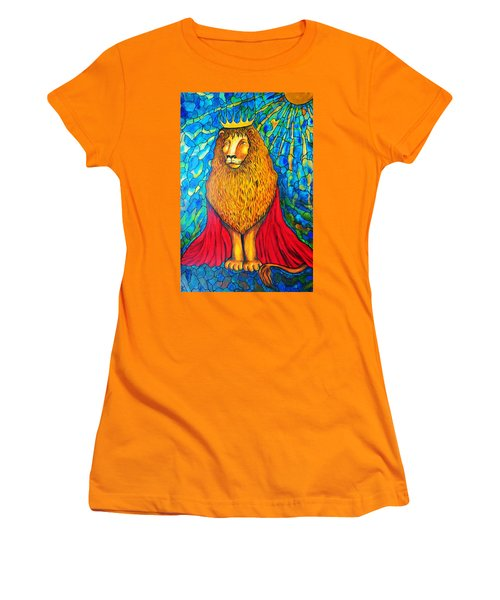Women's T-Shirt (Junior Cut) featuring the painting Lion-king by Rae Chichilnitsky
