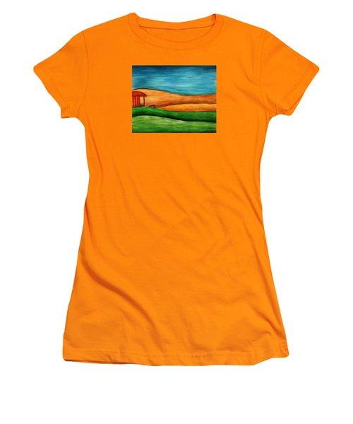 Little House On Hill Women's T-Shirt (Junior Cut) by Brenda Bryant