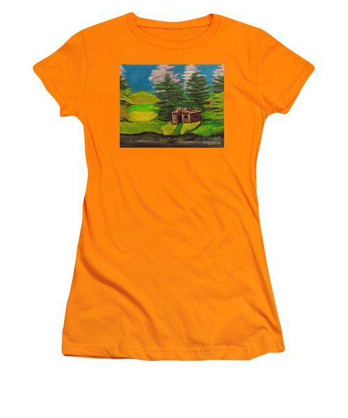 Women's T-Shirt (Junior Cut) featuring the painting Log Cabin by Brindha Naveen