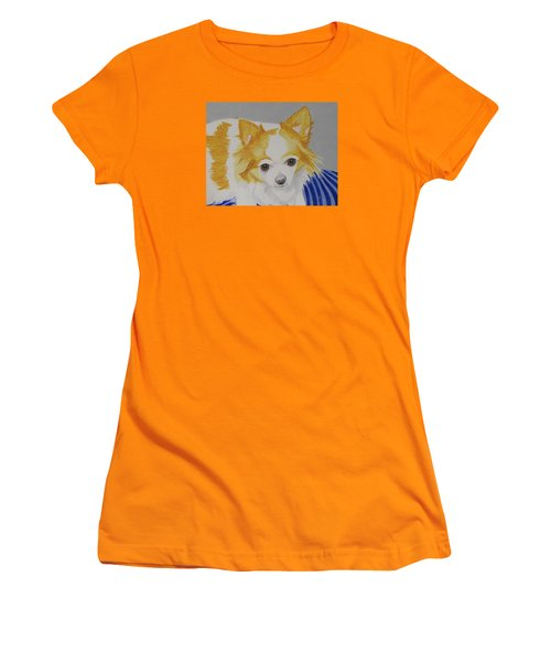 Women's T-Shirt (Junior Cut) featuring the painting Long-haired Chihuahua by Hilda and Jose Garrancho