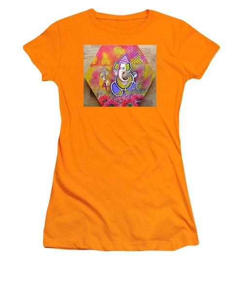 Lord Ganesha With Mantra Om Gam Ganapateye Namaha Women's T-Shirt (Athletic Fit)
