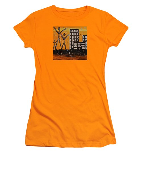 Women's T-Shirt (Junior Cut) featuring the painting Lost Cities 13-002 by Mario Perron