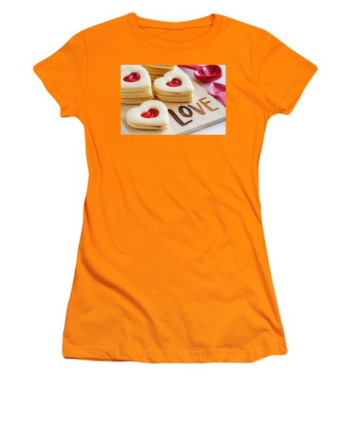 Women's T-Shirt (Junior Cut) featuring the photograph Love Heart Cookies by Teri Virbickis