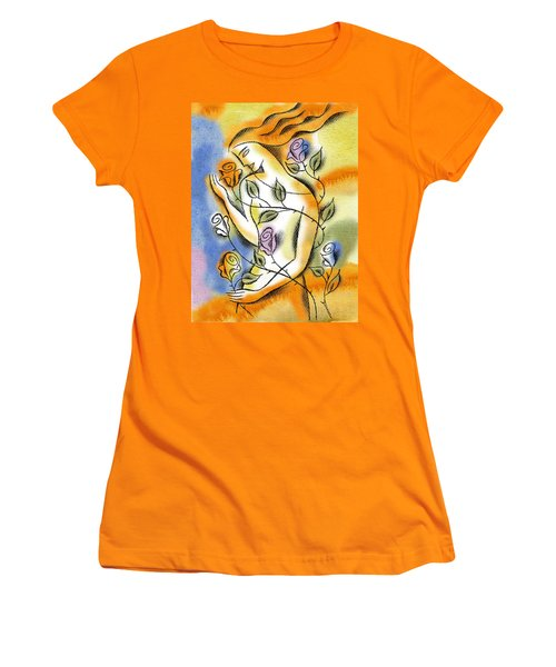 Women's T-Shirt (Junior Cut) featuring the painting Love, Roses And Thorns by Leon Zernitsky
