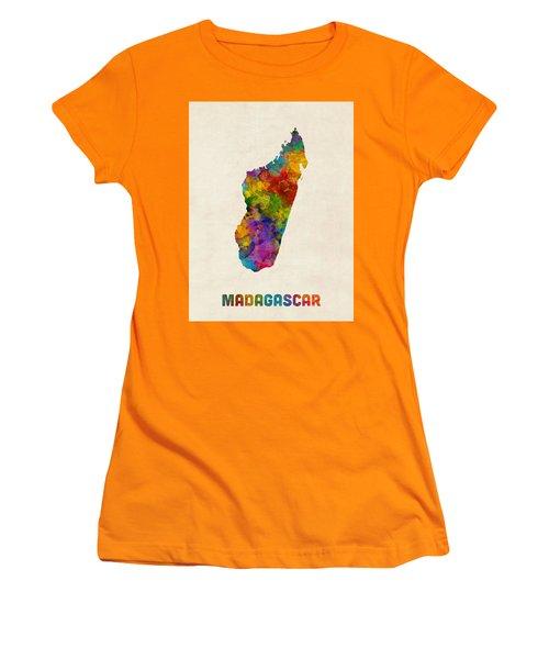 Women's T-Shirt (Junior Cut) featuring the digital art Madagascar Watercolor Map by Michael Tompsett