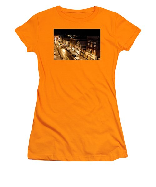 Women's T-Shirt (Junior Cut) featuring the photograph Main Street - Lake Placid New York by Brendan Reals