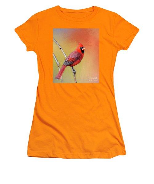 Women's T-Shirt (Junior Cut) featuring the photograph Male Cardinal Perched by Myrna Bradshaw