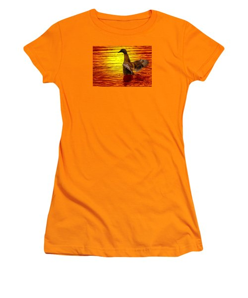 Women's T-Shirt (Junior Cut) featuring the photograph Mallard Sunset by Brian Stevens