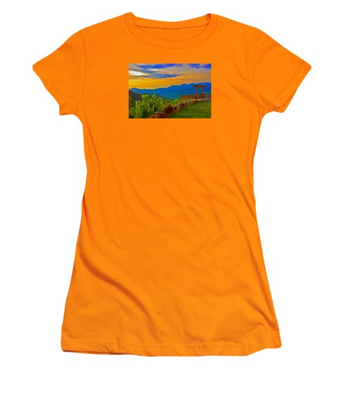 Blue Ridge Sunset From Mama Gertie's Hideaway Women's T-Shirt (Athletic Fit)