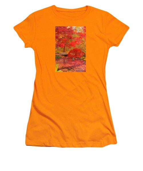 Women's T-Shirt (Junior Cut) featuring the photograph Maple Bridge by Geraldine DeBoer