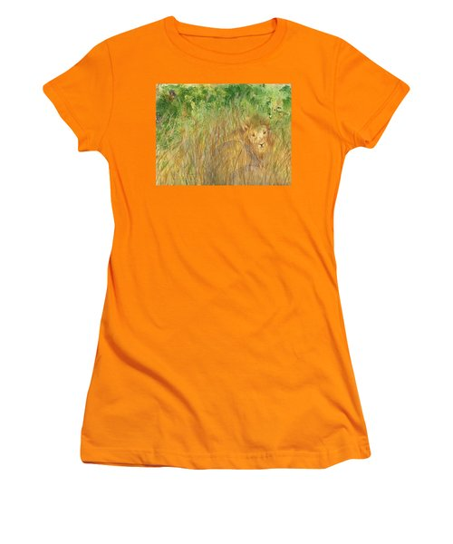 Women's T-Shirt (Junior Cut) featuring the painting Mara The Lioness by Vicki  Housel