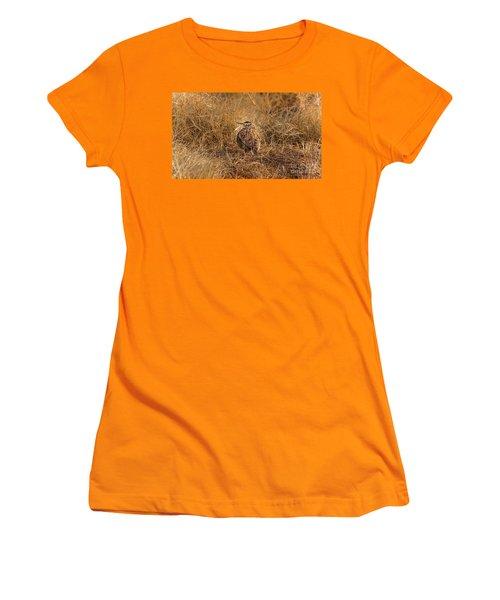 Meadowlark Hiding In Grass Women's T-Shirt (Junior Cut) by Robert Frederick