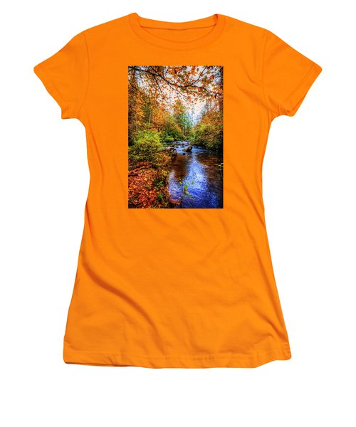 Women's T-Shirt (Junior Cut) featuring the photograph Meandering In The Mountains by Debra and Dave Vanderlaan