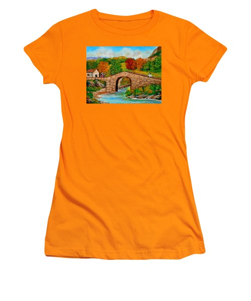 Meeting On The Old Bridge Women's T-Shirt (Athletic Fit)