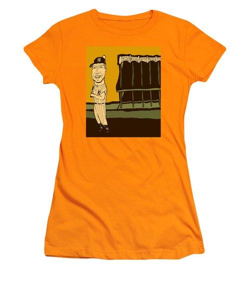 Mickey Mantle Yankee Stadium Women's T-Shirt (Junior Cut) by Jay Perkins