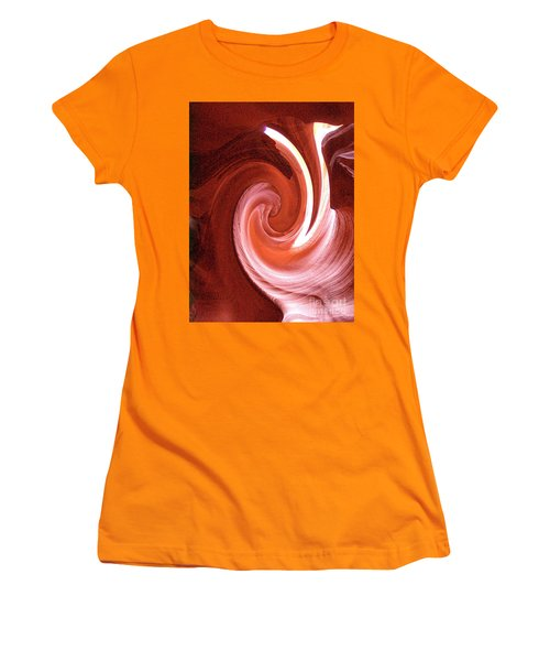 Women's T-Shirt (Athletic Fit) featuring the digital art Modern Digital Photo-painting Of Antelope Slot Canyon Sandstone Wall by Merton Allen