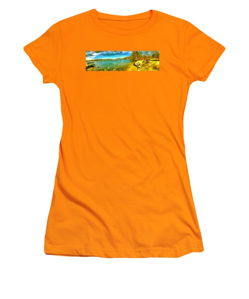 Women's T-Shirt (Athletic Fit) featuring the painting Mohegan Lake Panoramic Beach by Derek Gedney