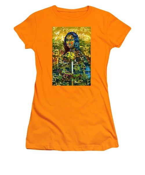 Women's T-Shirt (Junior Cut) featuring the mixed media Mona by Tony Rubino