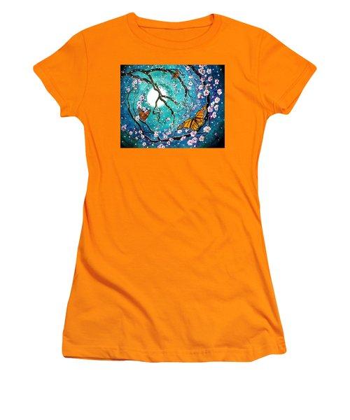 Monarch Butterflies In Teal Moonlight Women's T-Shirt (Junior Cut) by Laura Iverson
