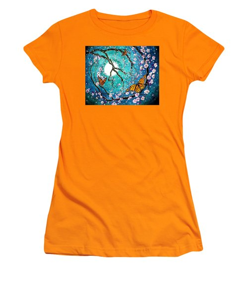 Monarch Butterflies In Teal Moonlight Women's T-Shirt (Athletic Fit)