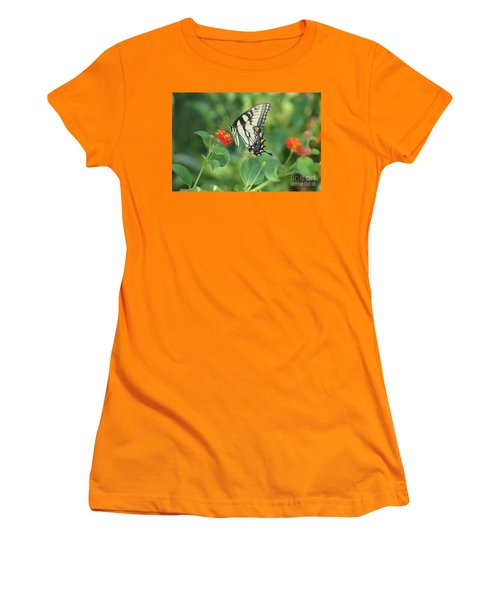 Women's T-Shirt (Junior Cut) featuring the painting Monarch Butterfly by Debra Crank